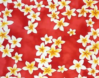 Cotton Hawaiian Fabric 1/4yd -Plumeria floral print - Pink RC C002P