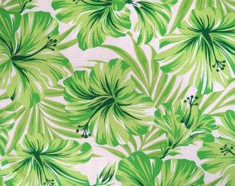 Hibiscus Print Hawaiian Fabric-green PC076G