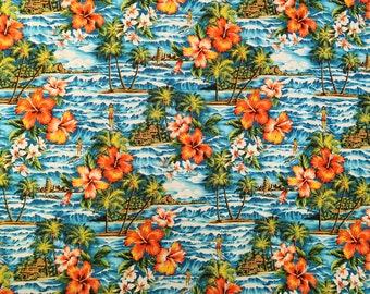 Hawaiian Surfing and Waves Vintage Style Cotton Fabric | Aqua