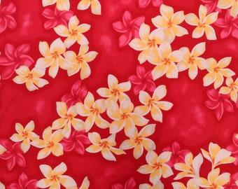 2 Shades Plumeria All Over Hawaiian Fabric -Red C004P