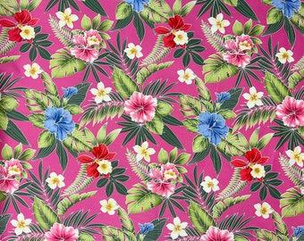 Pink Hibiscus Floral Hawaiian Fabric | 100% Cotton Pink C263P