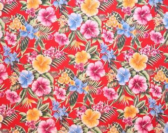 Hibiscus Paradises Hawaiian Fabric-Red Floral