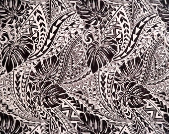 Hawaiian Plant Monstera Print Fabric - Polynesian Tribal Mix Print Fabric -Black PC125BK