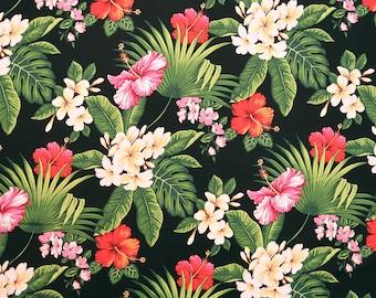 Pink & Red Hibiscus Plumeria Print Hawaiian Fabric - 100% Cotton Fabric -Black C031BK