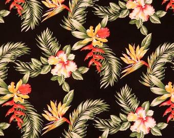 Hibiscus & Birds of Paradise Hawaiian 100% Cotton Fabric -Black C016BK