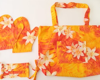 Hawaiian Print Hand-made Shopping Bag & Mitten Face Mask - Great Gift Set Idea | Orange Tiare MS187