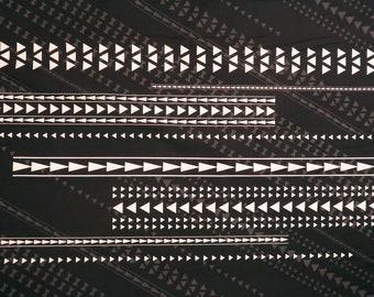 Polynesian Tribal Prints Non-iron wrinkle free fabric -Black&Grey PC132BK