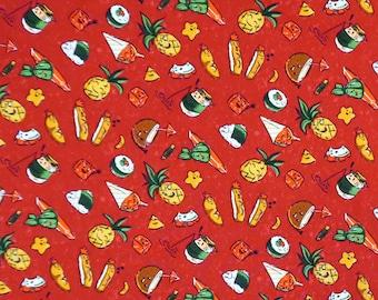 Hawaiian Food Print Paradise| Coconut, Musubi, Katsu, Laulau - Red C249R
