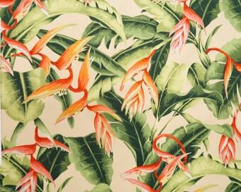 Heliconia Paradise 100% Cotton Hawaiian Fabric -Cream C084BG
