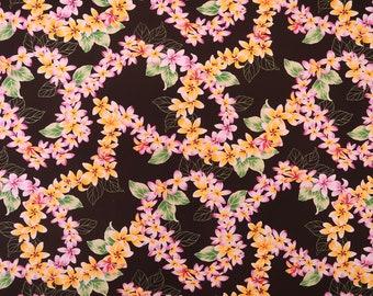 Yellow Lei Party Hawaiian Fabric - Black PC097BK