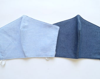 Denim Face Mask Pack (2pc) | Light Cotton Fabric Face masks | 3 layers M196
