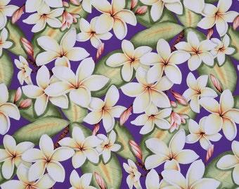Plumeria Hawaiian Print 100% Cotton Fabric / Mask making-Purple C005PU
