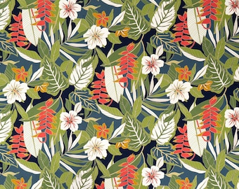 Hibiscus and Tropical Interior Print Furniture Fabric | Bark Cloth Hawaiian Upholstery Grade Fabric | Navy