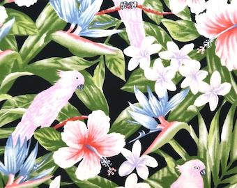 Hibiscus and Bird Prints 100% Cotton Fabric -Black C147BK