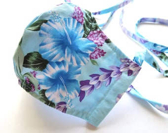 100% Cotton Hibiscus Print Facemask with filter pocket M193