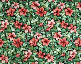 Floral Print Fabric - Red Hibiscus Garden - Hawaiian Fabric -Black C217BK
