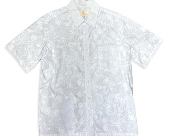 White Hawaiian Shirt for Wedding and Honeymoon | Hibiscus
