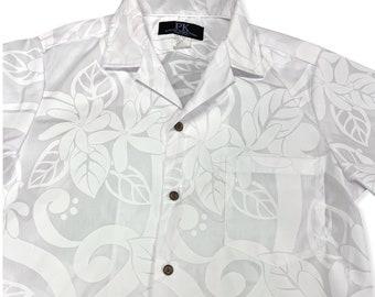 White Hawaiian Shirt for Wedding and Honeymoon | Big Tiare