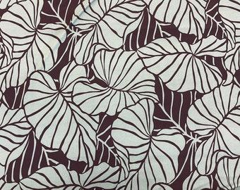 Hawaiian Leaf Print Knit Jersey Stretch Hawaiian Fabric   Green
