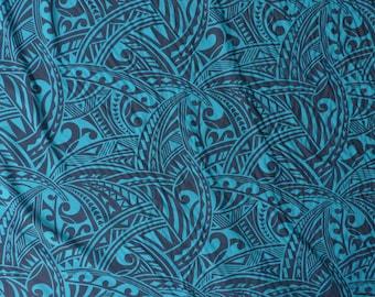 Polynesian Tribal Print Hawaiian Fabric - Tapa - Rayon | Teal Green