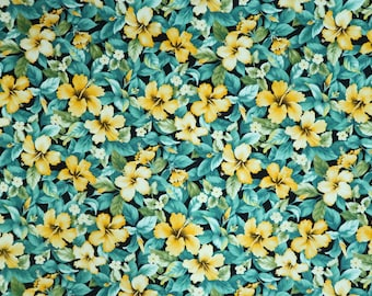 Yellow Hibiscus Garden Hawaiian Print Fabric for Curtain, Tablecloth, Sewing -Teal C218Y