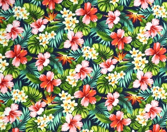 Tropical Flower Hibiscus & Birds of Paradise 100% Cotton Fabric  -Navy C139N