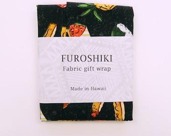 4 Piece Set XS Furoshiki | Hawaiian Soul Food Print Gift Wrapping Fabric