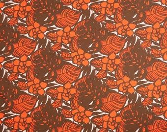 Modern Floral Fabric 100% Cotton | Orange & Brown C118O