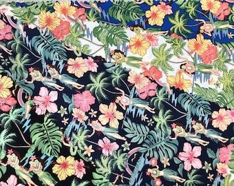 Hula Girls 100% Cotton Hawaiian Fabric -Navy C142N
