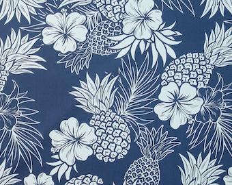 Navy Color Pineapple and Hibiscus Print Hawaiian Fabric -Navy C107N
