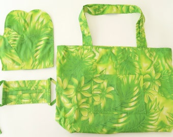 Hawaiian Fabric Shopping Bag & Mitten Gift Set - Gift for Her Item - Protection Gift Set for Green Lover - MS188