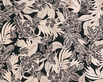 Floral Hawaiian Print Fabric - Beige and Black Plumeria -Cotton C214BB