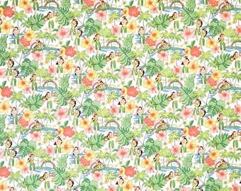 Vintage Retro Style Hula Girls Print Hawaiian Fabric -100% Cotton -Cream C143W