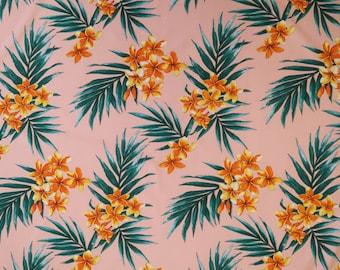Pink Plumeria Hawaiian Fabric-Coral PC057P