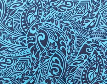 Polynesian Tribal Hawaiian Print Fabric - Blue PC115B