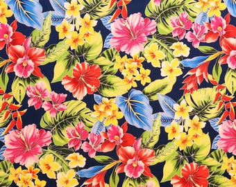 Blue Anthurium and Orchid Hawaiian Fabric 100% Cotton / Face Mask Cloth-BLACK C022BK