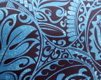 Polynesian Tribal Print Hawaiian Fabric -Tapa and Turtle Print - 100%  Cotton - C228Blue