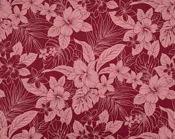 Chic Hawaiian Flower Print Red Fabric - 100% Cotton  - Burgandy Red C091E
