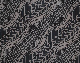 Stretch Knit Jersey Hawaiian Fabric Tapa Print | Taupe Brown