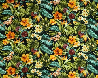 Tropical Flower Garden Hawaiian Fabric - Cotton 100%  - Black C224BK