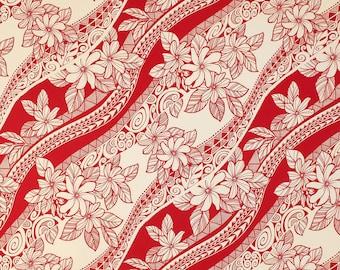 Polynesian Tribal Flower 100% Cotton Fabric-Red C033R