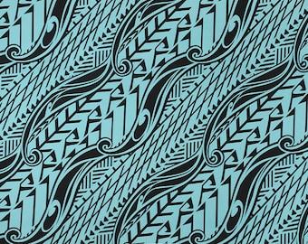 Stretch Knit Jersey Hawaiian Fabric Tapa Print | Blue