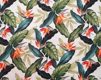 Bird of Paradise 100% Cotton Hawaiian Fabric -White C018W