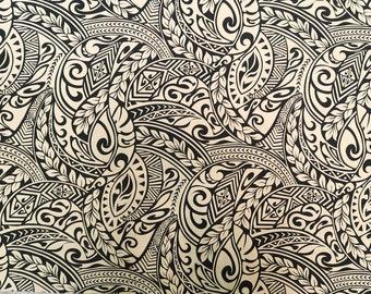 Polynesian Tribal Hawaiian Print Fabric - Beige PC116BG