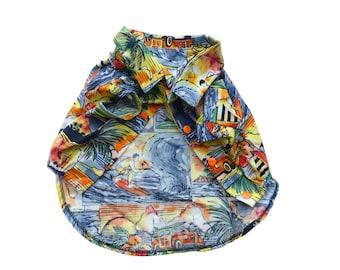 Dog's Hawaiian Shirt in Diamond Head Print   Orange