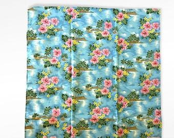 Orchid, Hibiscus Hawaiian Flower Print Gift Wrap Furoshiki | Eco Wrapping Cloth | Medium