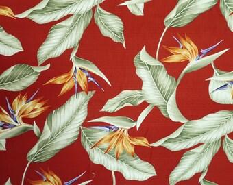 Dobby Cotton Birds of Paradise - Dark Red C