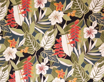 Heliconia and Hibiscus 100% Cotton Hawaiian Fabric -Navy C049N