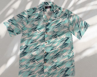 Surfer Camouflage Unique Print Hawaiian Shirts | Light Green and Light Blue