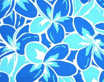 Plumeria bright Blue Poly-Cotton-Blue PC158B